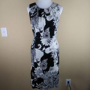 Talbots Black White Floral Sheath Dress Sleeveless